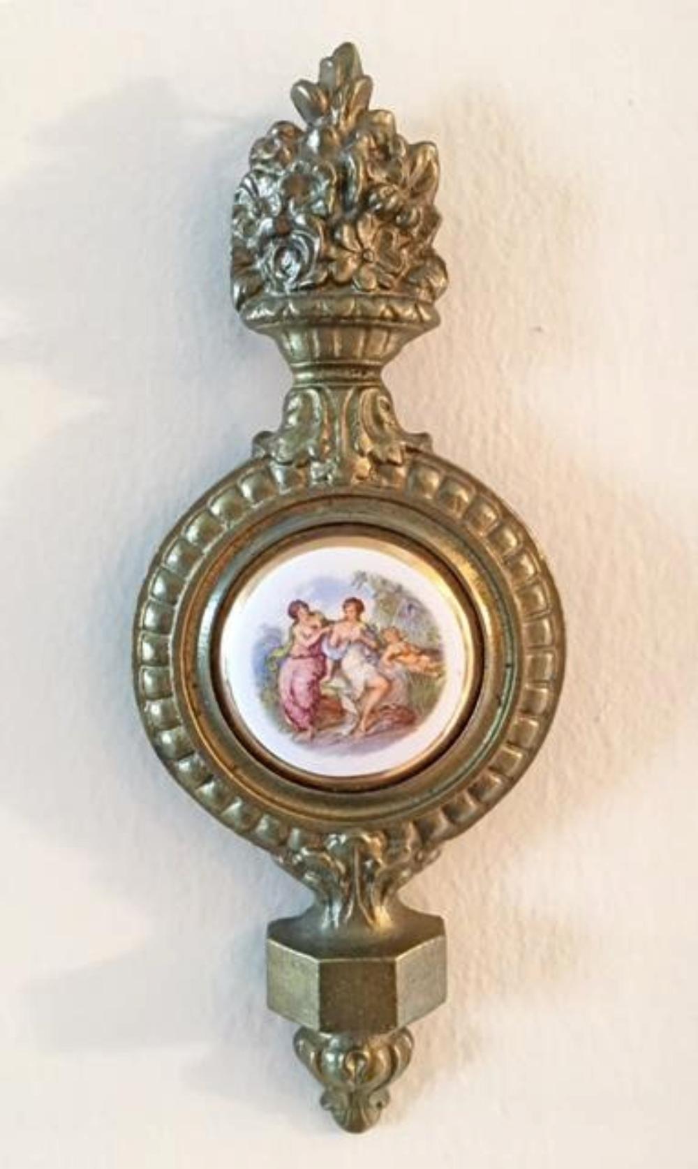 Vintage Porcelain Plaque 24K Gold Rim Bronze Frame