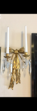 Lot 95: Pair Vintage Italian Gilt Metal Cut Crystal Candelabras Wall Sconces Candle Holders