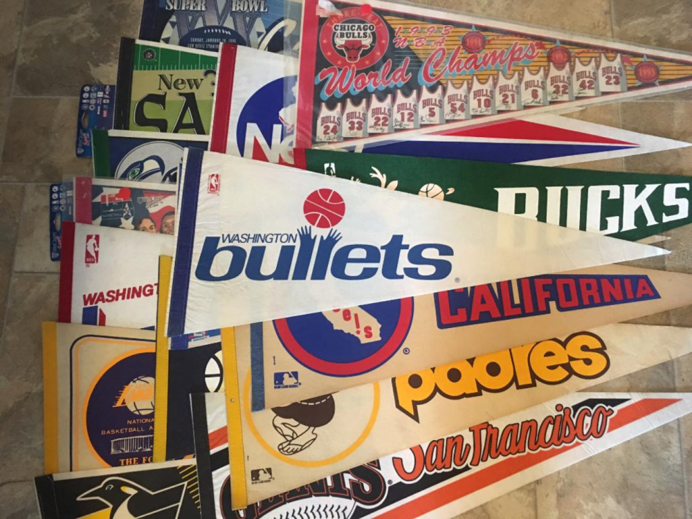 Lot 172: Vintage 18 Pennants Basketball Hockey Baseball Football