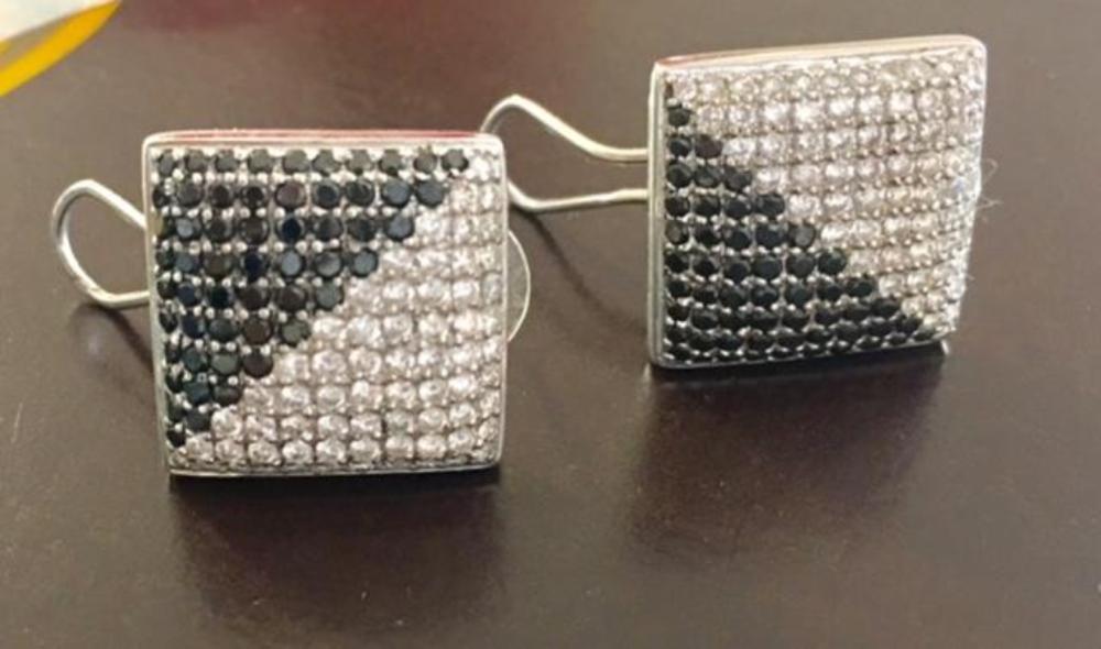 Two Tone 18K Gold & Black & White Diamonds Earrings