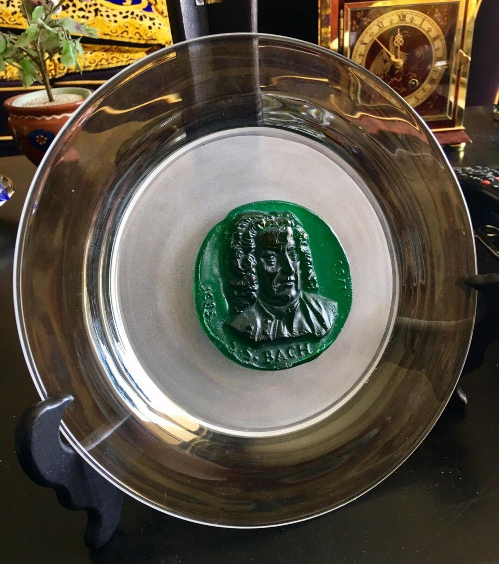 Lot 157: Daum Crystal France Pate de Verre 1970 Grand Musicians Series Bach Plate