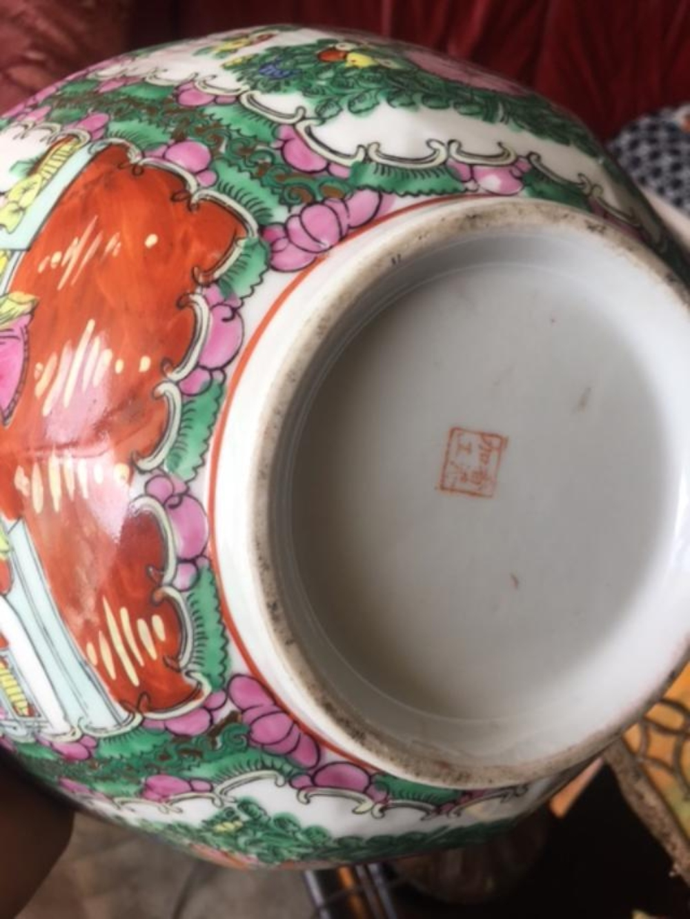 Lot 158: Antique Chinese Famille Verte Porcelain Scalloped Edge Scenery Footed Bowl Dish
