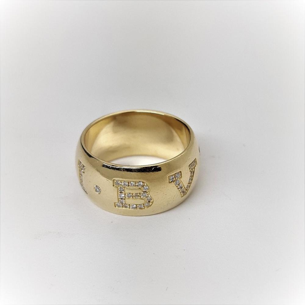 Bulgari 18k Gold Diamond Monologo Wide Band Ring with Box