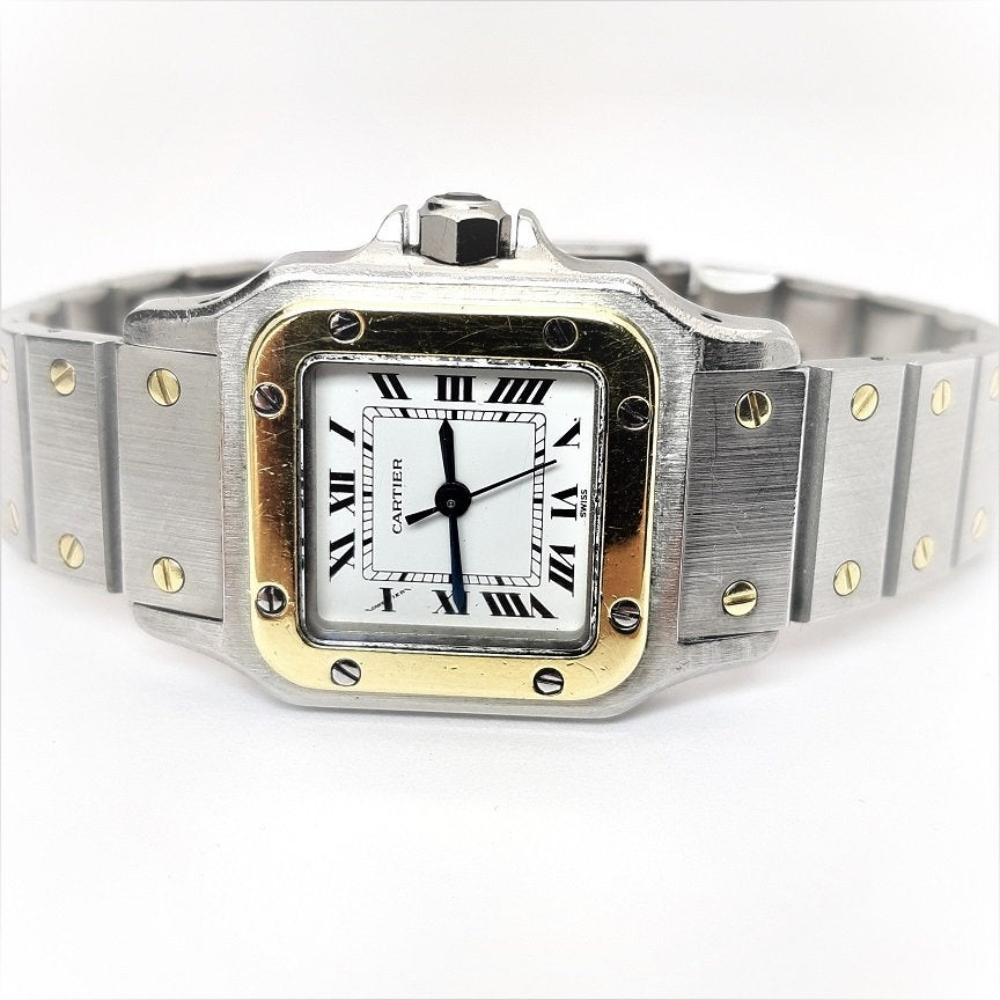 Lot 199: Cartier Santos Automatic 18K Gold Stainless Steel Watch