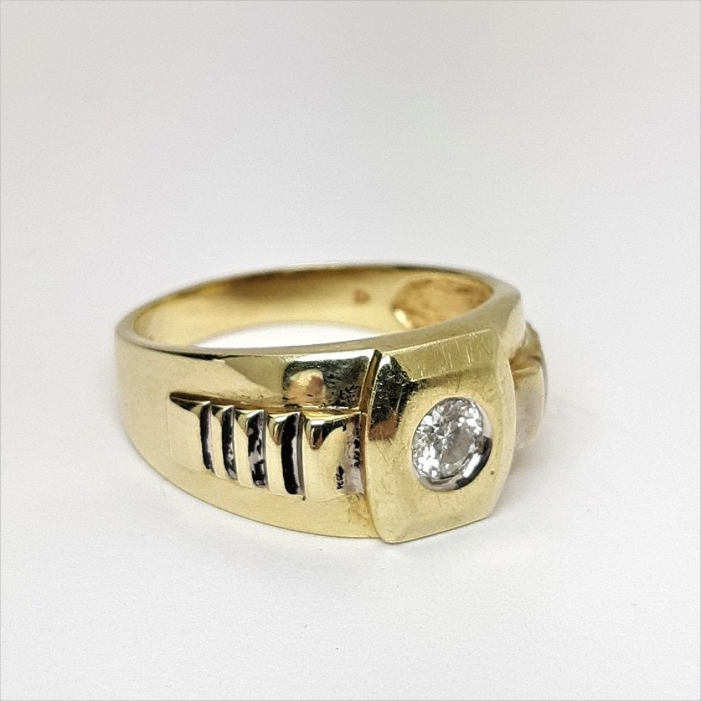 Mens Rolex Style 10k Gold .60 Carat Diamond Ring Sz. 12