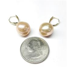 Lot 196: HONORA 14K Gold 12.0mm Ming Cultured Pearl Drop Earring