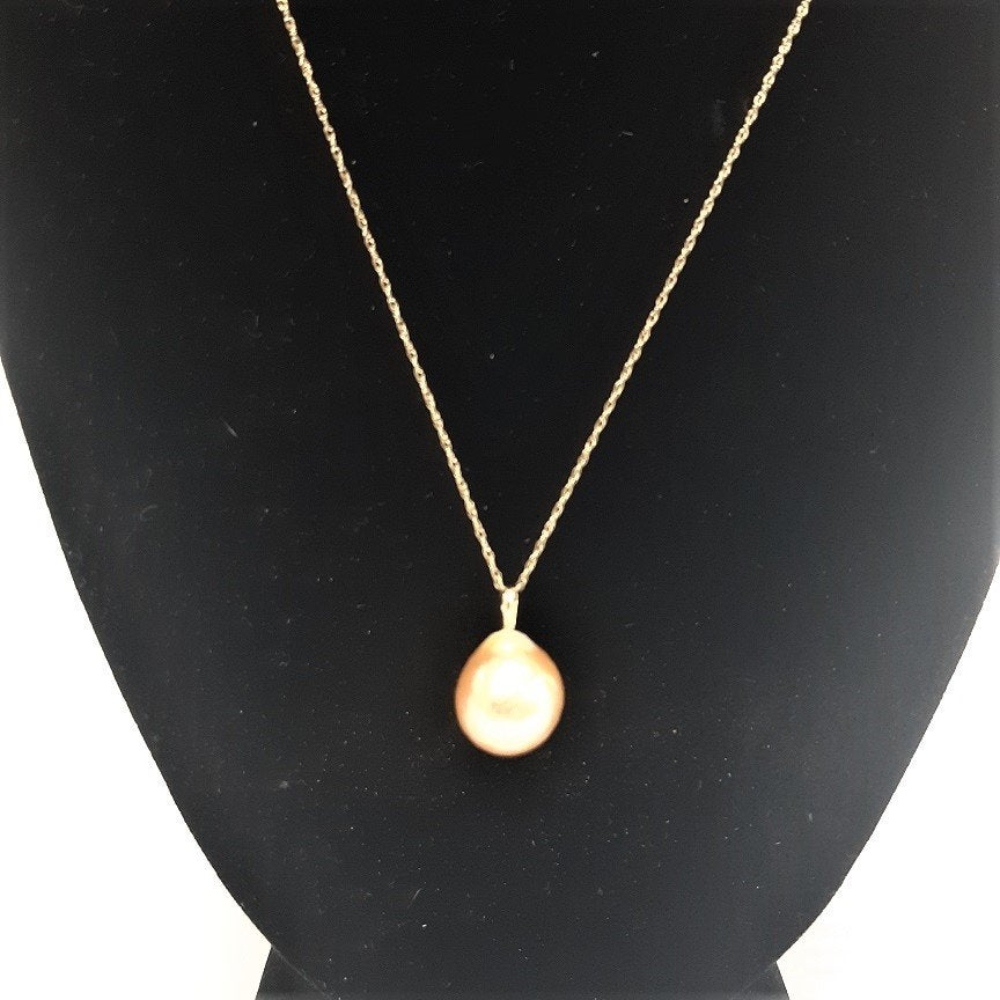 Lot 197: HONORA 14K Gold 12.0mm Ming Cultured Pearl Necklace