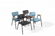 Pierre GUARICHE (1926-1995) Suite de quatre fauteuils en acier tubulaire do