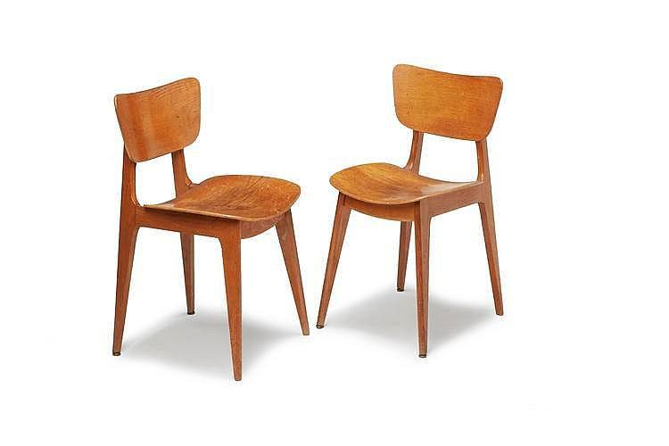 Roger landault 1919 1983 paire de chaises structure en bo - Chaises design bruxelles ...