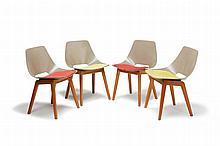Pierre GUARICHE (1926-1995) Série de quatre chaises. Piétement en bois clai