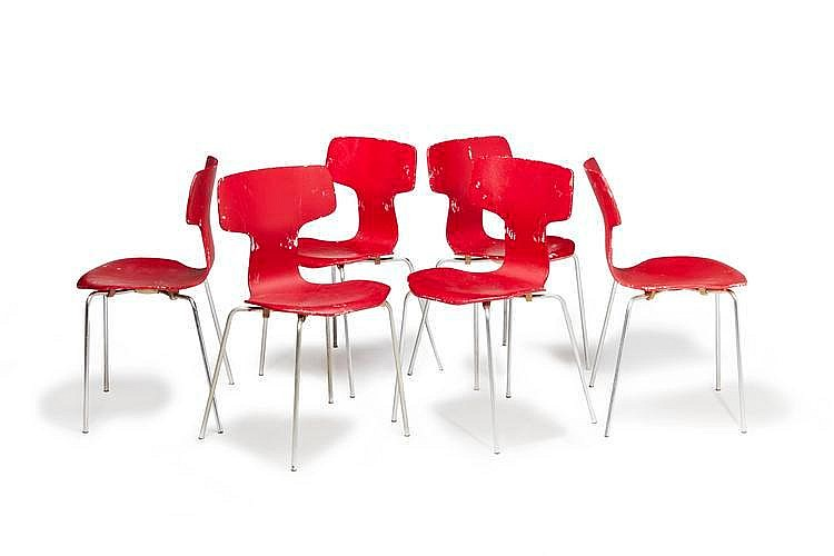 Arne jacobsen 1902 1971 s rie de six chaises mod le 3103 for Chaise arne jacobsen