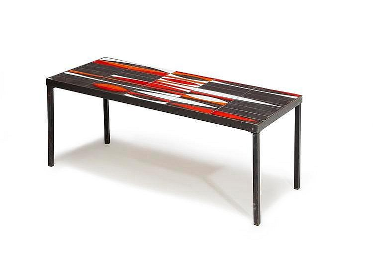 Roger capron 1922 2008 table basse navettes pi tement en - Table basse metal noir ...