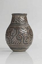 Emile LENOBLE (1875 - 1940) - Vase de forme balustre en grès émaillé marron à décor de frise d'entrelacs.