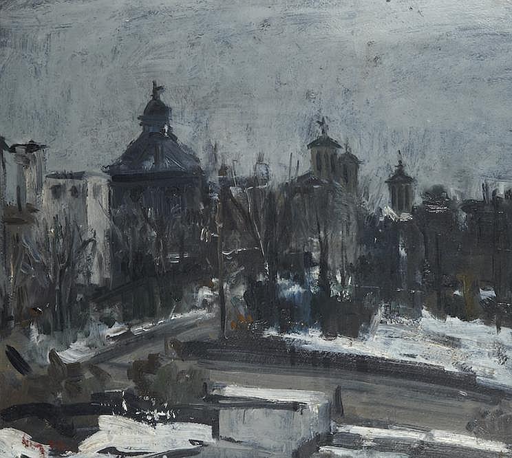 Eustache STOENESCU (Roumanie 1885 - Paris 1957)   Scène de rue à Bucarest