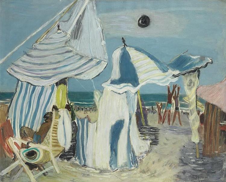 Pierre GRIMM (Ekaterinslav 1898 - Paris 1979)   Scène de plage