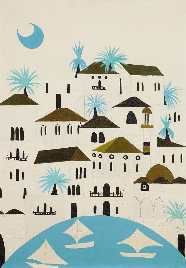 Jumana EL HUSSEINI (née en 1932)   Paysage avec lune, 1975