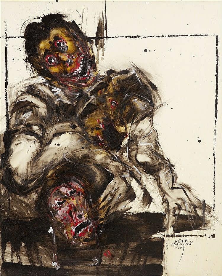Stani NITKOWSKY (1949 - 2001)  - Au masque enseveli, 1994