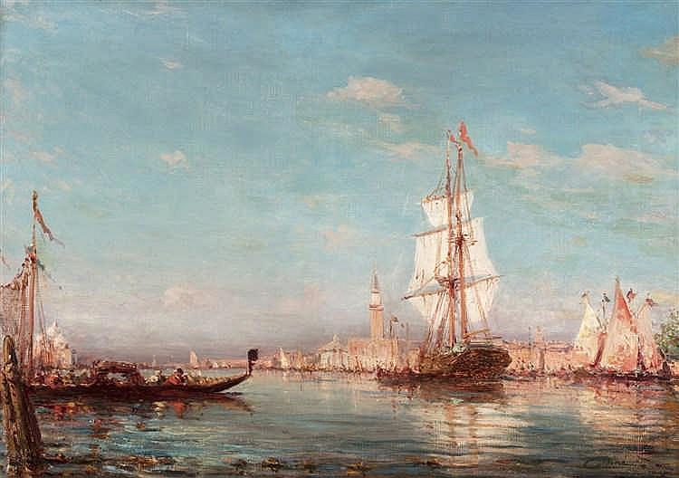 Alfredo CALDINI (né en 1917)  - Vue du canal à Venise