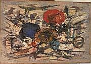 VILLERI Jean (1896-1982) Composition Huile sur