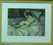 PAILHES Fred (1902- 1991) Nu assoupi Aquarelle sur