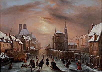 Louis Claude MALBRANCHE (Caen 1790-1838) Village