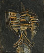 Serge REZVANI (né en 1928) Masque, 1962 Huile sur