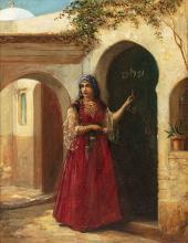 Jan Baptist HUYSMANS (Anvers 1826 - ?) Juive d'Alger à l'entrée de la maison