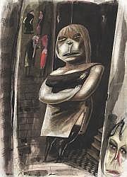Ian POLLOCK Prostitute with black boots Encres de