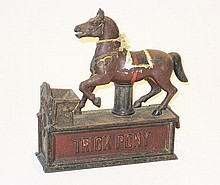 An American Cast iron Trick Pony Money Bank, Shephard Hardware Company