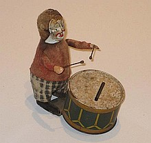 Japanese clockwork Monkey Drummer, 26cm high