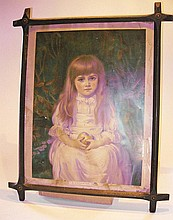 A framed Victorian coloured print of a young girl,
