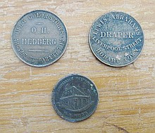 Three rare Australian 1860s Tasmanian copper store tokens