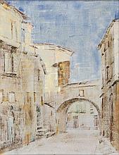 Fernando Puppo (Orvieto 1887 - 1962 ) Vicolo di Orvieto con pergolato; Strada ad Orvieto, 1937.