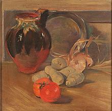Fernando Puppo (Orvieto 1887 - 1962 ) Pomodori, cipolle, patate, una brocca ed un piatto, 1940