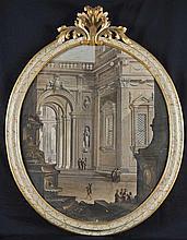 Pietro Paltronieri, detto il Mirandolese delle prospettive (Mirandola 1673 - Bologna 1741) e studio Capriccio architettonico con cortile rinascimentale in prospettiva