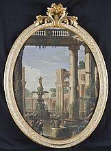 Pietro Paltronieri, detto il Mirandolese delle prospettive (Mirandola 1673 - Bologna 1741) e studio Capriccio architettonico con giardino fantastico e fontana