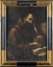 Scuola bolognese, secolo XVII San Francesco in meditazione, con un teschio e un libro