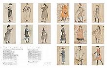 Antonio Discovolo (Bologna 1876 - Bonassola 1956) Serie di quindici caricature con soggetti vari a tecnica mista su cartoncini