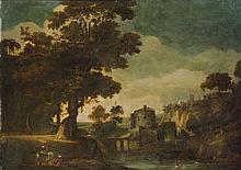 Cerchia di Teodoro Filippo de Liagno, detto Filippo Napoletano (Napoli o Roma 1591 circa -  Roma 1630 circa) Paesaggio fluviale con borgo turrito e cavaliere che incontra una zingara in primo piano