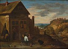 Seguace di David Teniers Contadini presso una taverna, con borgo turrito in lontananza
