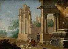 Attribuiti a Paolo Anesi (Roma 1697 - 1773) Capriccio architettonico con edifici classici in rovina e fontanile con lavandaie; e Veduta ideata dell'Aniene a Ponte Nomentano con viandanti in riva, en pendant
