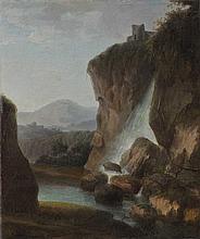 Scuola italiana, inizi secolo XIX Paesaggio con cascata