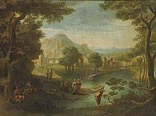 Scuola francese, secolo XVIII Paesaggio laziale con concerto campestre e città sullo sfondo