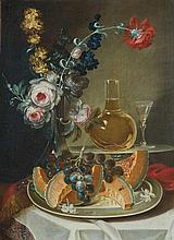 Ludovico Stern (Roma 1709 - 1777) Piatto con frutta, fiori in un vaso e vino bianco in una caraffa di vetro