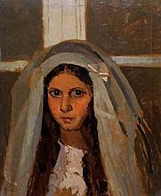 Oscar Ghiglia (Livorno 1876 - Firenze 1945) 'Contadinella comunicanda (la figlia del giardiniere del Salviatino)'