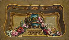 Scuola francese, secolo XIX Trompe-l'oeil con vaso istoriato e festone di fiori