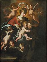 Scuola genovese, secolo XVII Madonna con Bambino, Sant'Antonio da Padova e putti