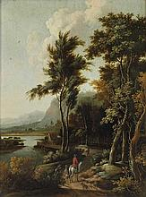 Willem Hendricksz Verboom (1640 - 1718) Paesaggio fluviale con viandanti