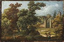 Scuola italiana, ultimo quarto del secolo XVIII Paesaggio boschivo con viandanti e villa sullo sfondo