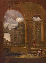 JAN BLOM (AMSTERDAM 1622-1685) e JOHANNES LINGELBACH (FRANCOFORTE SUL MENO 1622 - AMSTERDAM 1674)  Giardino di una villa italiana con figure presso la fontana di Nettuno